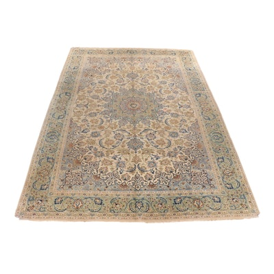 Hand-Knotted Persian Kashan Wool Rug