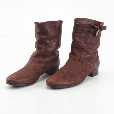 Women's Prada Brown Leather Slouchy Boots with Buckle