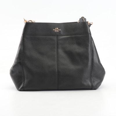 Coach Lexy Saddle Black Pebbled Leather Shoulder Bag