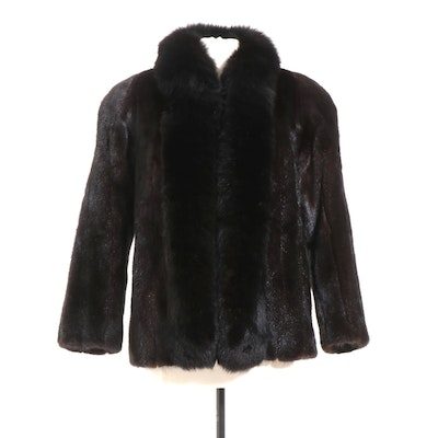 Mink Fur Jacket with Fox Fur Collar, Vintage