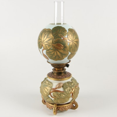 Victorian Hinks & Son Converted Hurricane Oil Lamp with Water Lily Motif