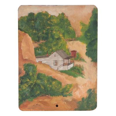 W. Glen Davis 1936 Oil Painting of Rural Landscape