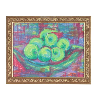Susan Wagner Oil Pastel Still Life Drawing of Apples