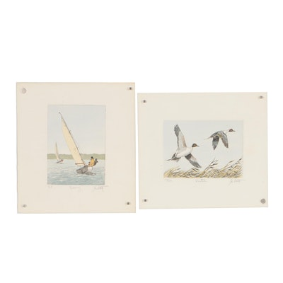 "John Collette Etchings ""Racing"" and ""Pintails"""