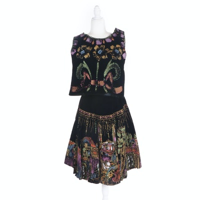 Hand-Painted Mexican Sleeveless Top and Circle Skirt with Sequins, 1950s Vintage