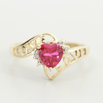 """10K Yellow Gold Synthetic Ruby and Diamond """"Love"""" Bypass Ring"""