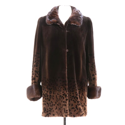 Leopard Patterned Sheared Mink and Mahogany Mink Fur Jacket