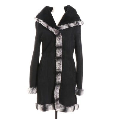 Dibello Collezione Dyed Rabbit Fur-Trimmed Lambskin Hooded Coat, Made in Italy