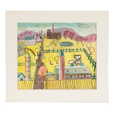 Esther Phillips Watercolor and Graphite Painting of Farm Landscape