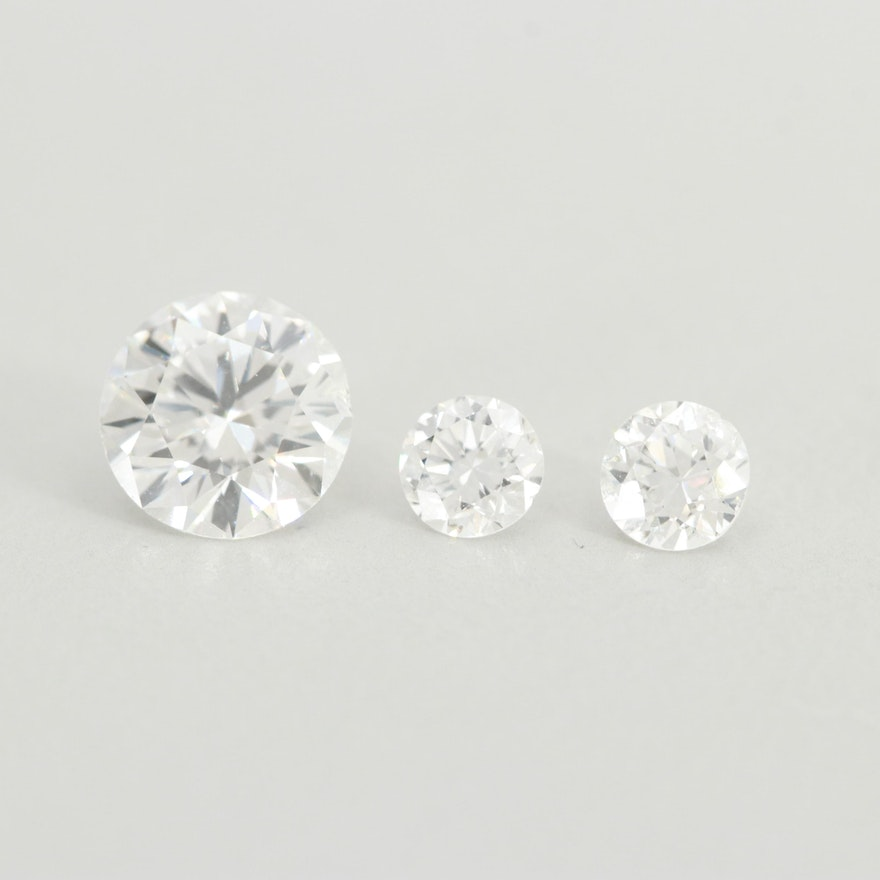 011c204e6d352 Loose 1.50 CTW Round Brilliant Cut and Old European Cut Diamonds