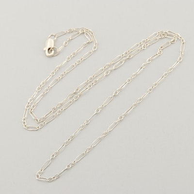 Art Deco Style Sterling Silver Link Chain Necklace