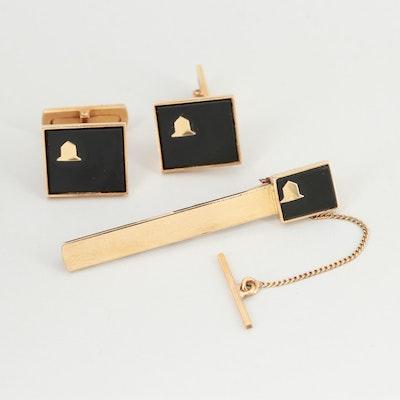18K Yellow Gold  Black Onyx Tie Clip and Cufflink Set