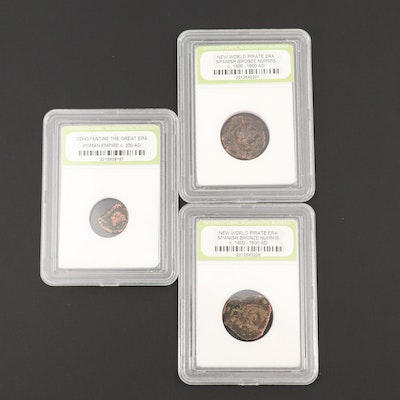 Three Encapsulated Ancient and Medieval Coins
