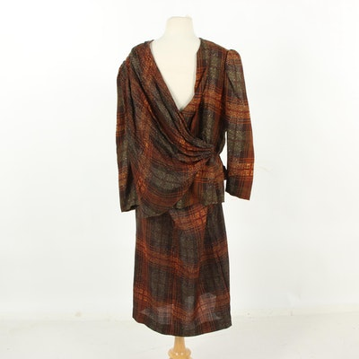 Becky Bisoulis Plaid Wool Skirt Suit, 1980s Vintage