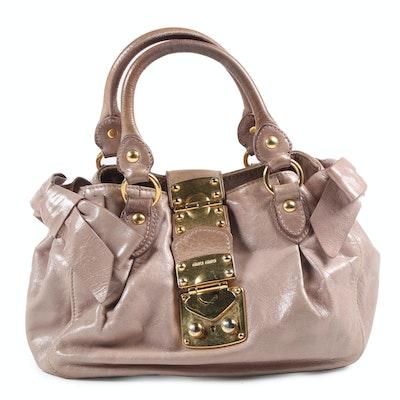 Miu Miu Taupe Leather Mini Vitello Lux Bow Convertible Handbag