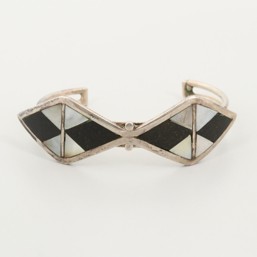 Sterling Silver Mother of Pearl and Glass Cuff Bracelet