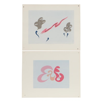 "William Downing Abstract Serigraphs ""No. 75"" and ""No. 76 Image of Concern"""