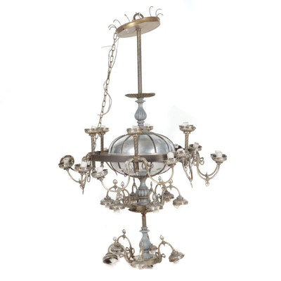 Monumental Early to Mid 20th Century Chromed Chandelier