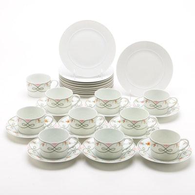 """Ceralene Limoges """"Guirlandes"""" China Teacups and Other China Dessert Set"""