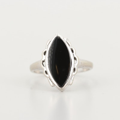 10K White Gold Black Onyx Ring