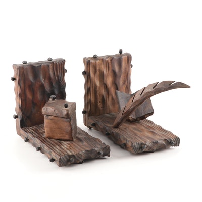 Handcrafted Carved Pen and Inkwell Wood Bookends