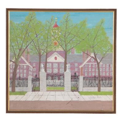 "Gideon Cohen Casein Painting ""Dunster House, Harvard"""