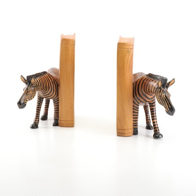 Wooden Zebra Bookends
