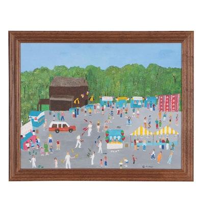 Inez Hess Acrylic Folk Painting of Street Festival