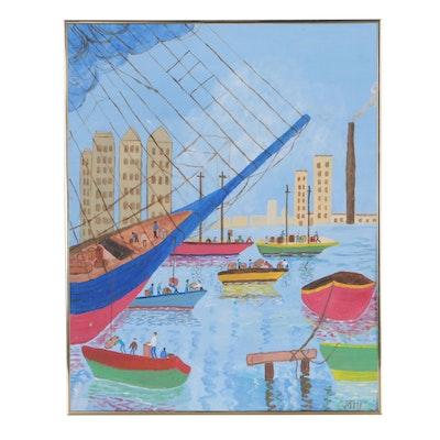 Inez Hess Acrylic Folk Painting of Harbor Scene
