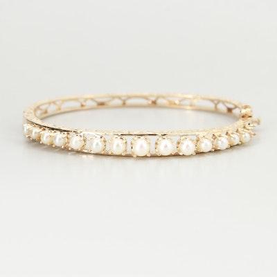 14K Yellow Gold Cultured Pearl Bangle Bracelet