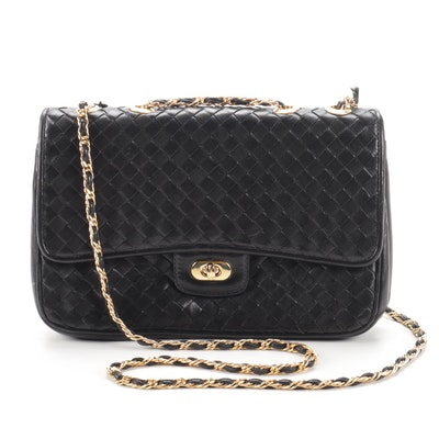 Kamarel New York Black Woven Leather Flap Front Crossbody Shoulder Bag