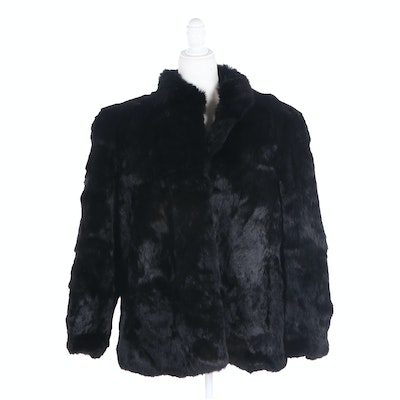 Dyed Black Rabbit Fur Jacket