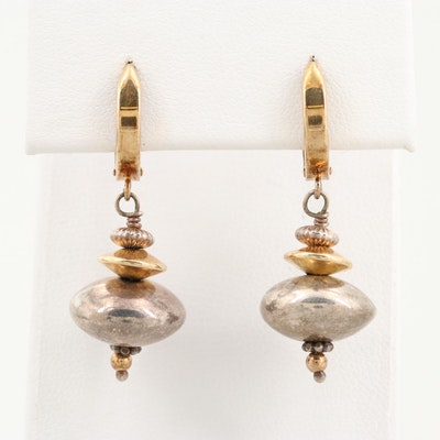 14K Yellow Gold and Sterling Silver Drop Earrings