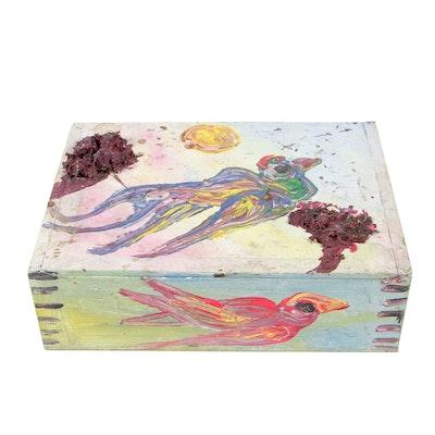 Robert Wright Acrylic Folk Painting on Cigar Box