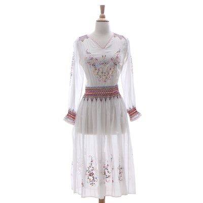 Floral Embroidered Cotton Dress with Smocked Accents