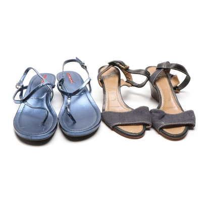 Prada Metallic Blue Leather and Chloé Canvas and Leather Wedge Sandals