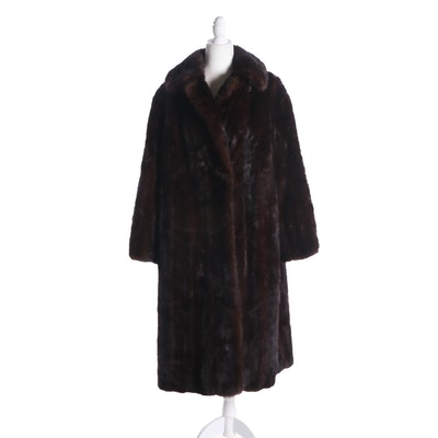 Dark Mahogany Mink Fur Coat, Vintage