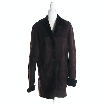 Barneys New York Brown Sheepskin Coat with Dyed Shearling Lining