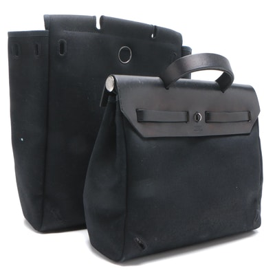Hermès Black Canvas Herbag A Dos Convertible Backpack