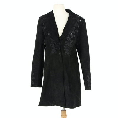 Scully Embroidered Black Suede Button-Front Coat with Sequins