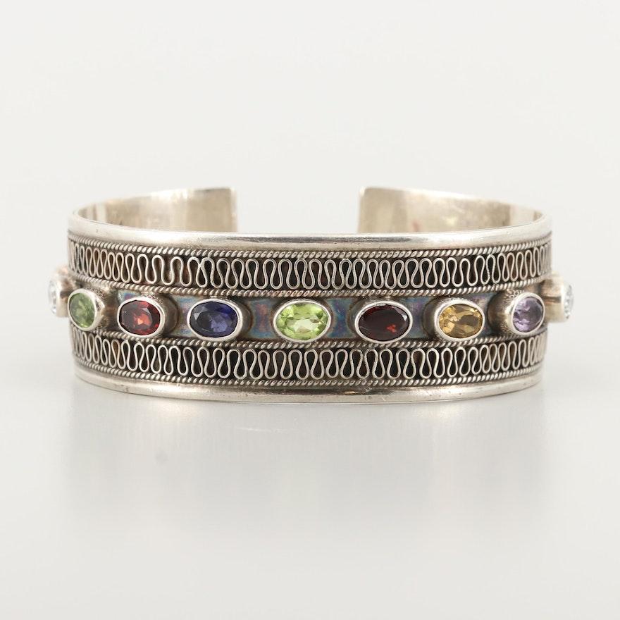 Sterling Silver Amethyst and Gemstone Cuff Bracelet
