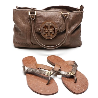 Tory Burch Taupe Leather Satchel and Logo Metallic Thong Sandals