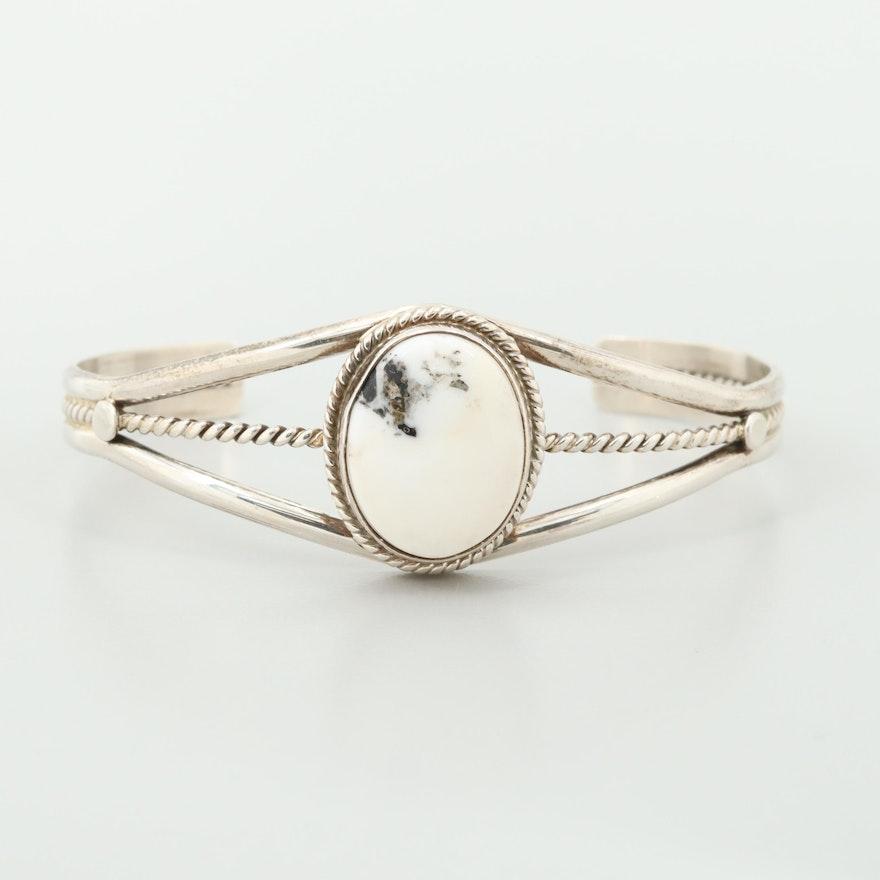Southwestern Style Sterling Silver Howlite Cuff Bracelet