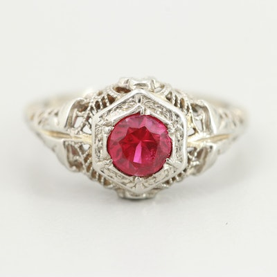 Vintage 18K White Gold Synthetic Ruby Ring