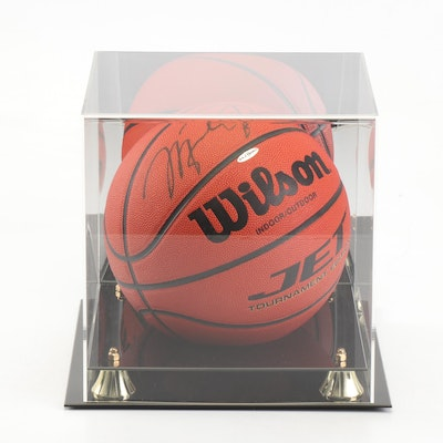 Michael Jordan Autographed Basketball with Mirrored Case