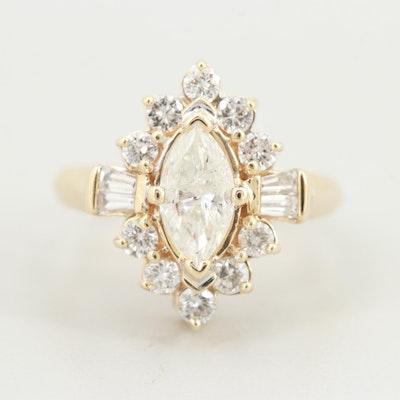 14K Yellow Gold 1.75 CTW Diamond Ring