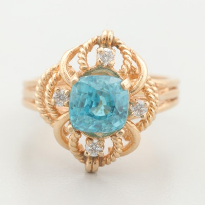 14K Yellow Gold Zircon and Cubic Zirconia Ring