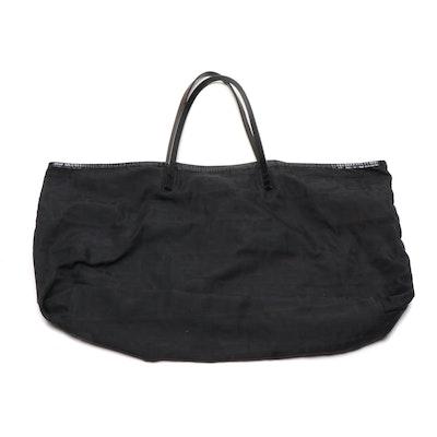 Fendi Black Zucca Nylon Tote Bag