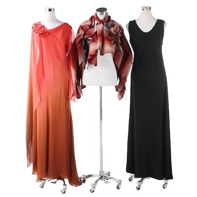 Melissa Eng and Kane Sells Long Evening Dresses with Szymkowicz Jacket and Wrap