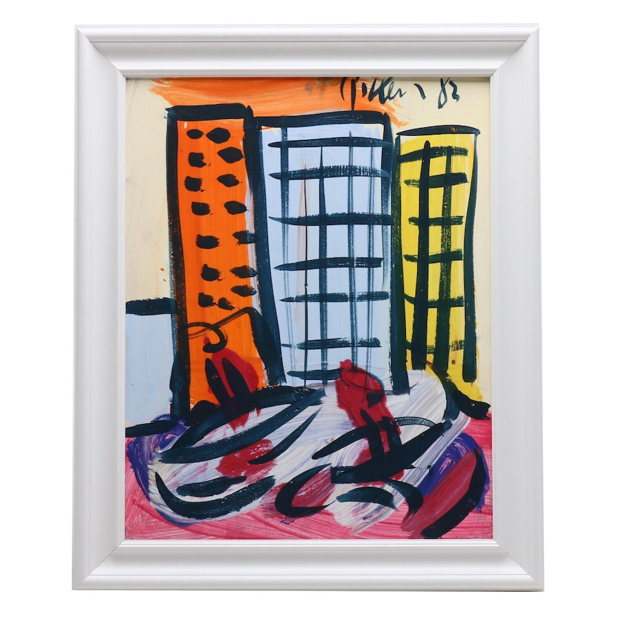 Peter Keil 1982 Oil Painting Abstract Cityscape